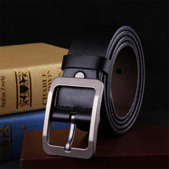 Buy Stylish Pin Buckle Solid Color Faux Leather Men's Wide Belt BLACK