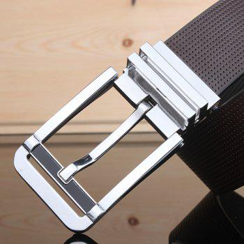 Stylish Pin Buckle Small Hole Faux Leather Men's Wide Belt - BLACK