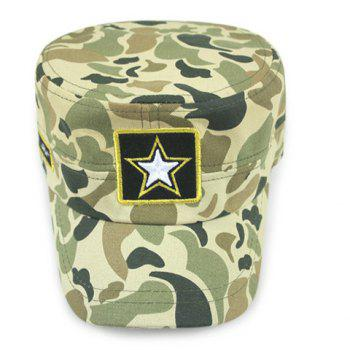 Stylish Five-Pointed Star Embroidery Camouflage Pattern Men's Military Hat - GREEN