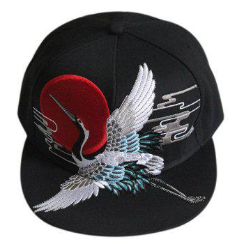 Stylish Red-Crowned Crane Shape Embroidery Black Baseball Cap - BLACK