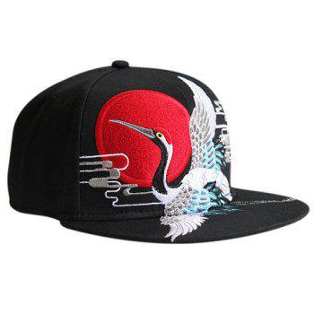 Stylish Red-Crowned Crane Shape Embroidery Black Baseball Cap