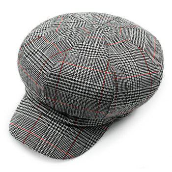 Chic Houndstooth and Stripe Pattern Women's Newsboy Hat