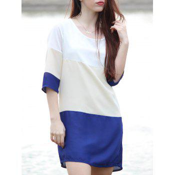 Casual Scoop Neck Color Block 3/4 Sleeve Women's Dress - PURPLISH BLUE S