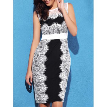 Scalloped Lace Panel Sheath Dress