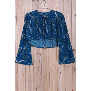 High Low Hem Bell Sleeve Blouse - XL XL