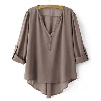 Low Cut Adjustabel Sleeve Asymmetrical Chiffon Blouse