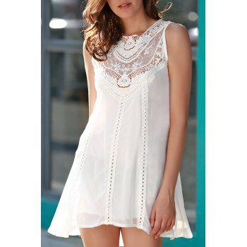 Stylish Jewel Neck Sleeveless Spliced Openwork White Women's Chiffon Dress