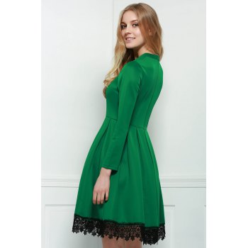 Stand Collar Long Sleeves Lacework Dress - M M