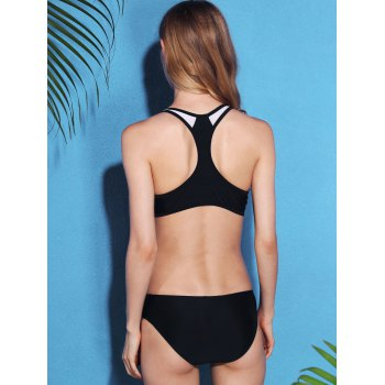 Active Style U Neck Hollow Out Racerback Women's Bikini Set - BLACK M