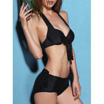 Chic Halter Neck Push Up Underwire Black Three Piece Women'sBathing Suit