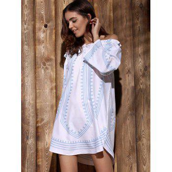 Fashionable Long Sleeve Off-The-Shoulder Printed Women's Dress - WHITE S