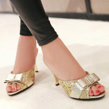 Trendy Bow and Sequined Cloth Design Women's Slippers - GOLDEN 39