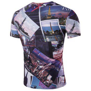 Slimming Round Neck 3D Civic Landscape Men's Short Sleeves T-Shirt - COLORMIX 2XL