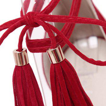Fashionable Fringe and Stiletto Heel Design Women's Sandals - RED 34