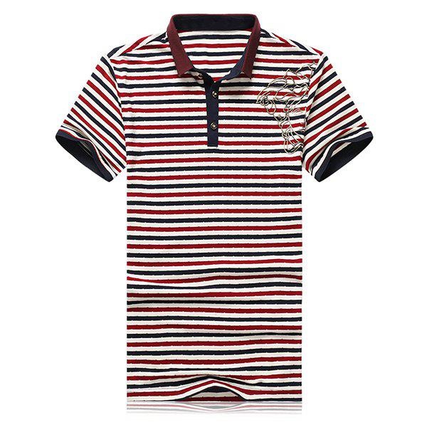 Turn-Down Collar Flower Embroidered Stripe Short Sleeve Men's Polo T-Shirt - L STRIPE
