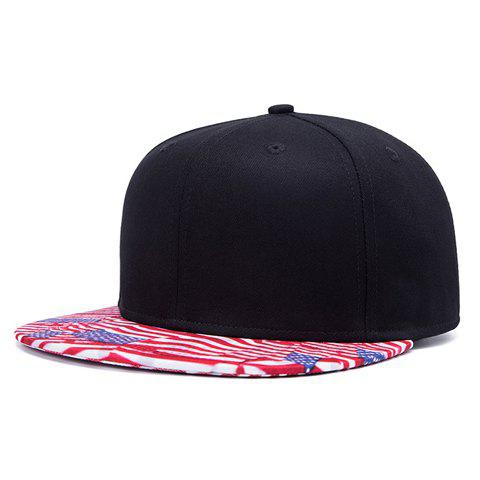 Stylish American Flag Pattern Brim Men's Black Baseball Cap