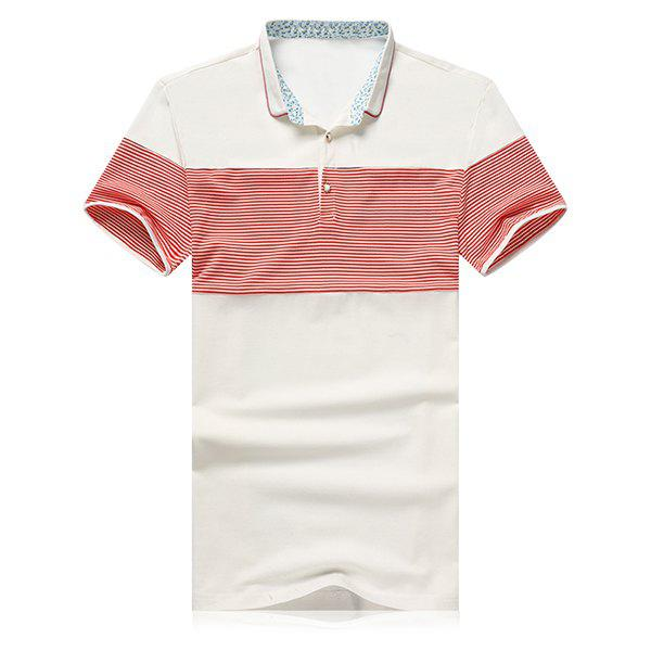 Striped Splicing Design Turn-Down Collar Short Sleeve Polo T-Shirt For Men