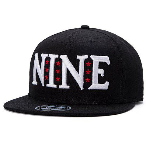 Stylish Capital Letter and Five-Pointed Star Embroidery Black Baseball Cap For Men - BLACK
