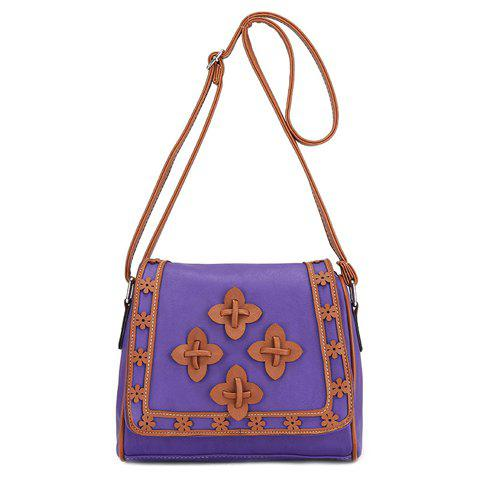 Ethnic Style Color Matching and Floral Design Crossbody Bag For WomenBags<br><br><br>Color: VIOLET