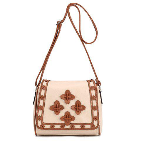 Ethnic Style Color Matching and Floral Design Women's Crossbody Bag - OFF WHITE