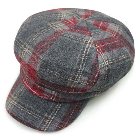 Chic Checkered Pattern Women's Casual Style Newsboy Hat - GRAY