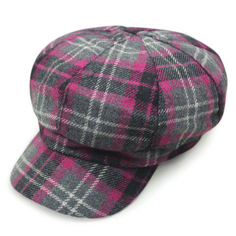 Chic Tartan Pattern Women's Casual Style Newsboy Hat - ROSE