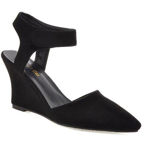 Fashionable Suede and Wedge Heel Design Women's Sandals - BLACK 38