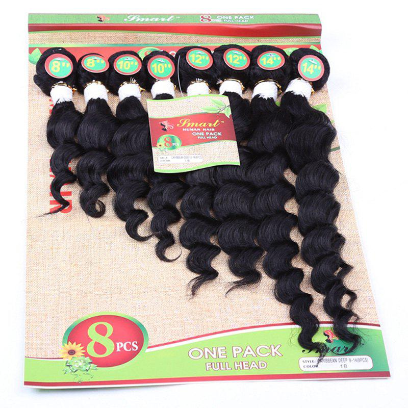 8Pcs/Lot 8-14 Inch Stylish 90 Percent Human Hair Black Hair Extension For Women - BLACK
