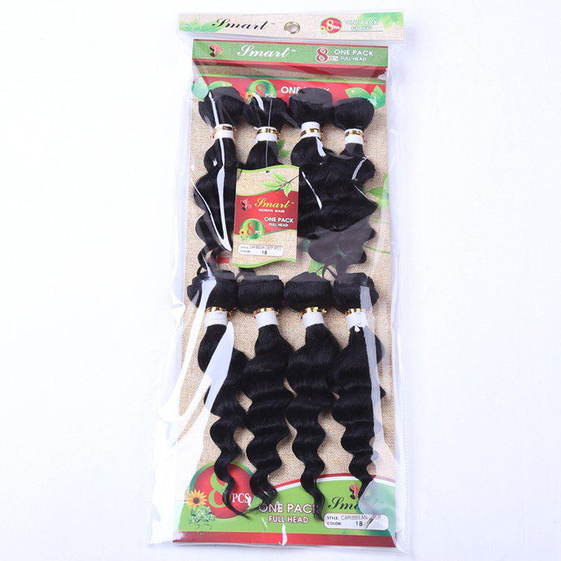 8Pcs/Lot 90 Percent Human Hair Blended Synthetic Stylish Black Fluffy Wave Women's Hair Extension - BLACK