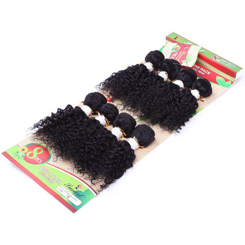 8Pcs/Lot Vogue Black Fluffy Jerry Curly 90 Percent Human Hair Blended Synthetic Women's Hair Extension - BLACK