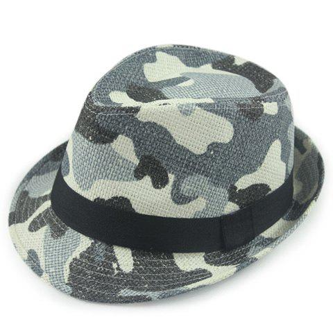 Stylish Black Strappy Embellished Camouflage Pattern Men's Straw Jazz Hat - GRAY