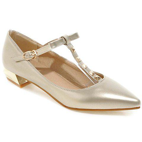 Stylish Bow and T Strap Design Women's Flat Shoes - GOLDEN 37