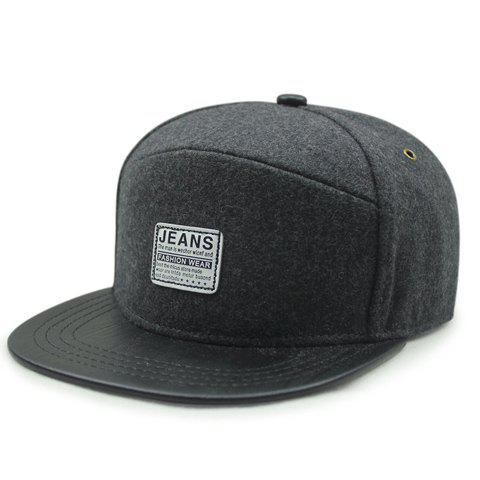 Stylish Letter Labelling Embellished Men's Black Felt Baseball Cap - BLACK GREY