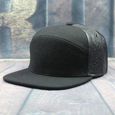 Stylish Two PU Sides Embellished Men's Felt Baseball Cap - BLACK
