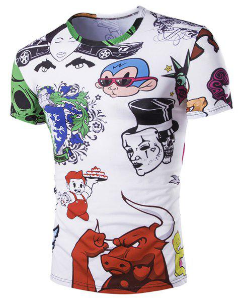 Hot Sale Round Neck 3D Cartoon Print Short Sleeves Men's Funny T-Shirt - COLORMIX M