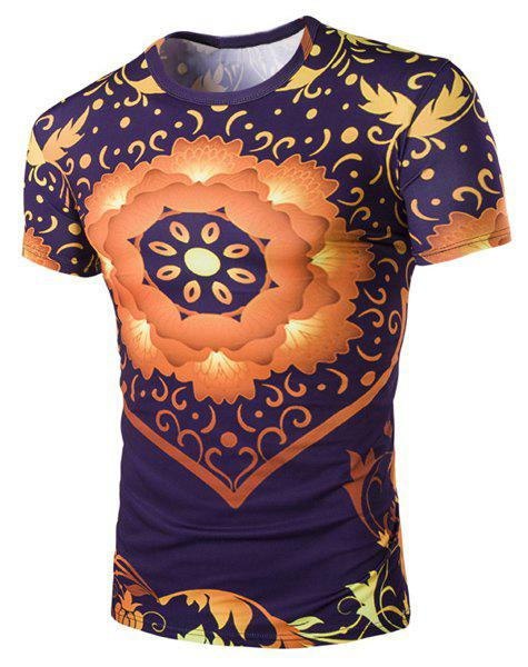 3D Floral Print Round Neck Short Sleeves Men's Slimming T-Shirt - COLORMIX 2XL