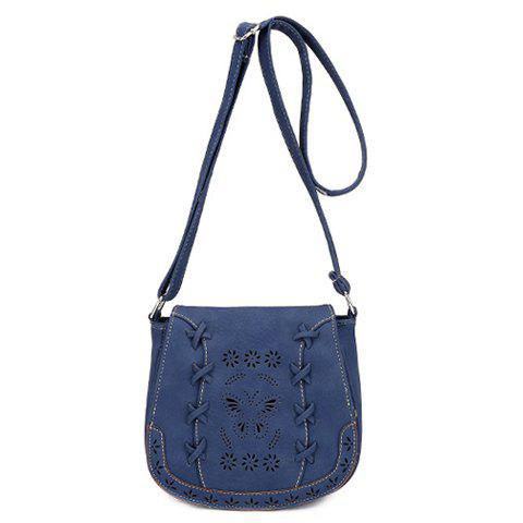 Leisure Hollow Out and Solid Color Design Women's Crossbody Bag - BLUE