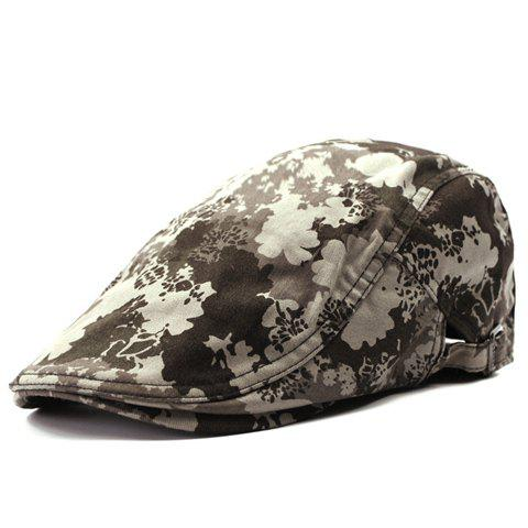 Stylish Splash-Ink Pattern Adjustable Buckle Men's Cabbie Hat - COFFEE