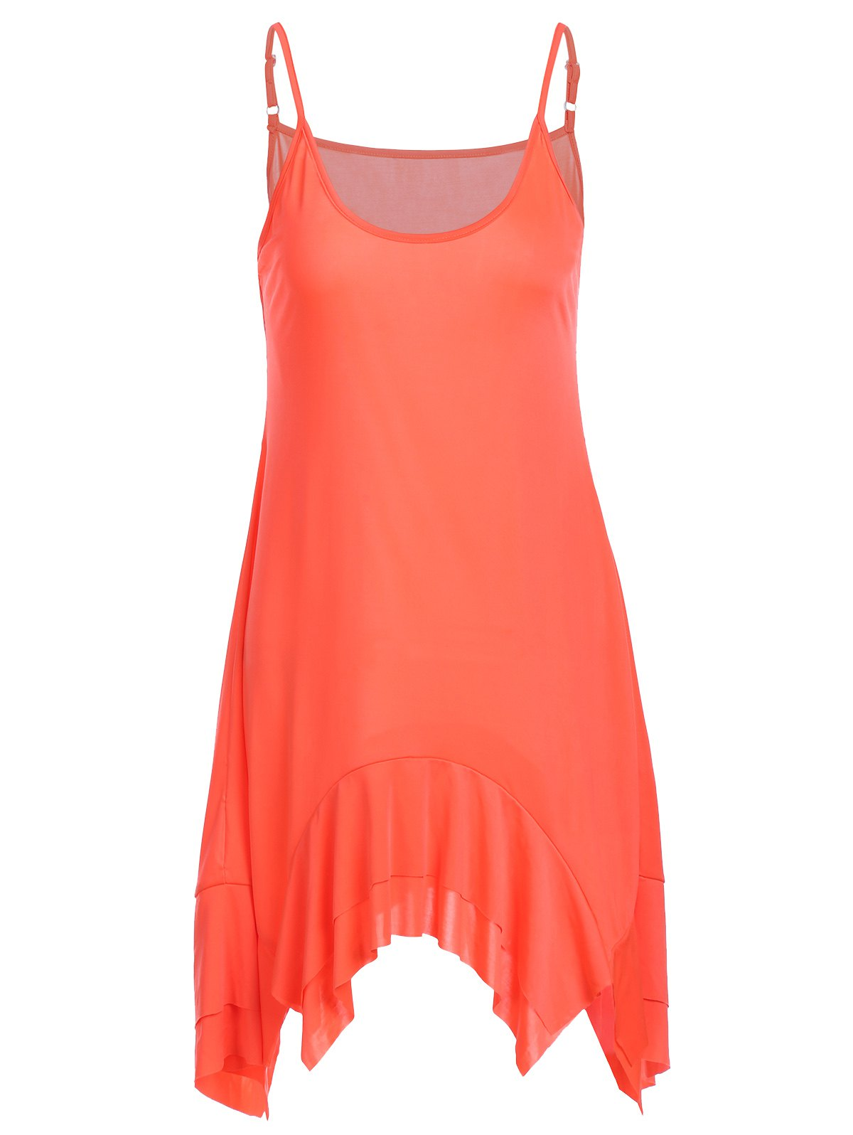Trendy Spaghetti Strap Solid Color Asymmetrical Women's Dress - ORANGE S