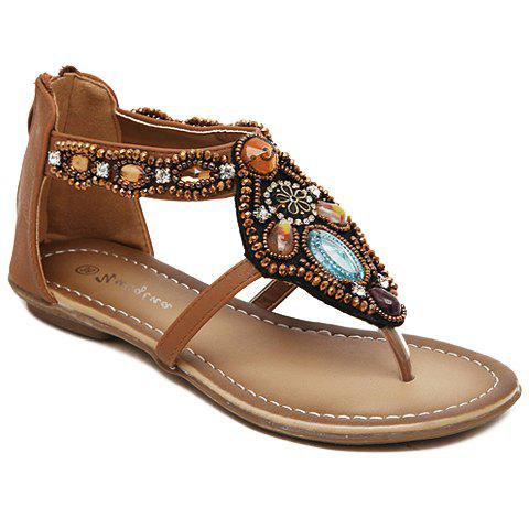 Leisure Beading and Flip Flop Design Women's Sandals - BROWN 36