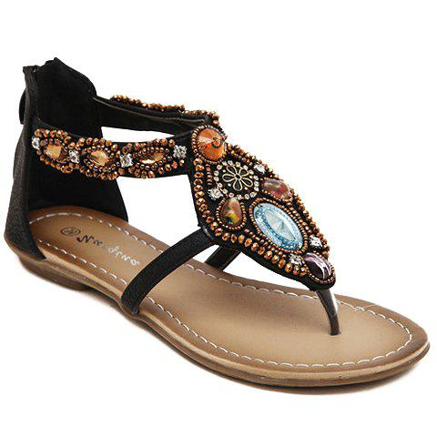 Leisure Beading and Flip Flop Design Women's Sandals