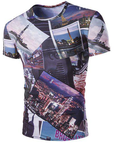 Slimming Round Neck 3D Civic Landscape Men's Short Sleeves T-Shirt - COLORMIX M