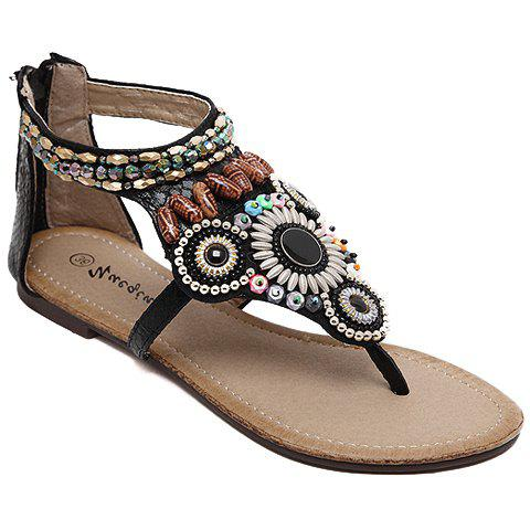 Bohemia Beading and Zipper Design Women's Sandals - BLACK 36
