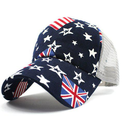 Stylish American Flag and Five-Pointed Star Pattern Breathable Mesh Men's Baseball Cap - LIGHT GRAY