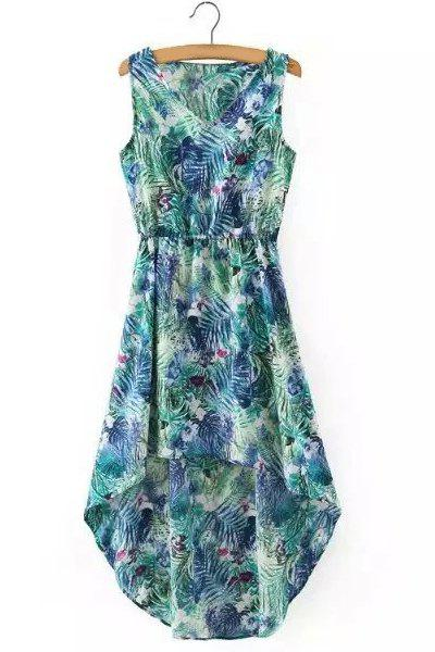 Stylish High Low Sleeveless V-Neck Printed Women's Chiffon Dress