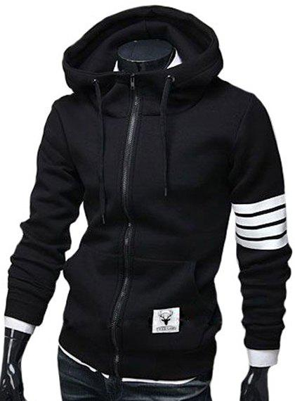 Slim Fit Zipper Stripe Hoodie For Men - BLACK 2XL