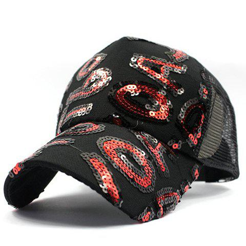 Stylish Letter Shape Sequins Embellished Breathable Mesh Men's Baseball Cap - RED