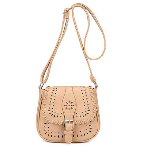 Casual Hollow Out and Buckle Design Women's Crossbody Bag - APRICOT