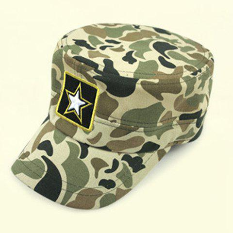 Stylish Five-Pointed Star Embroidery Camouflage Pattern Men's Military Hat