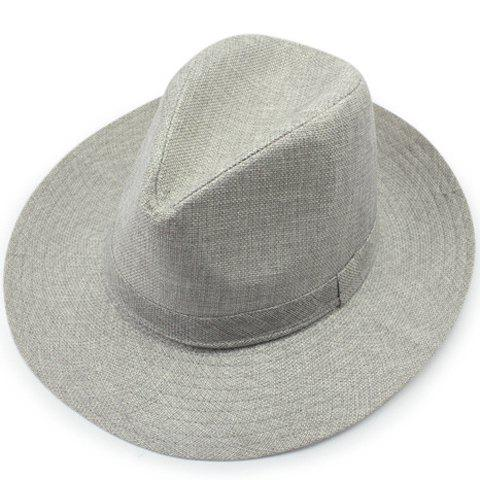Stylish Strappy Embellished Solid Color Men's Flax Sun Hat - OFF WHITE